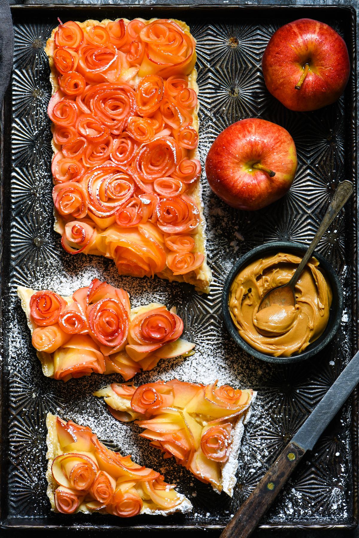 Apple Rose Tart with Peanut Butter Custard-6