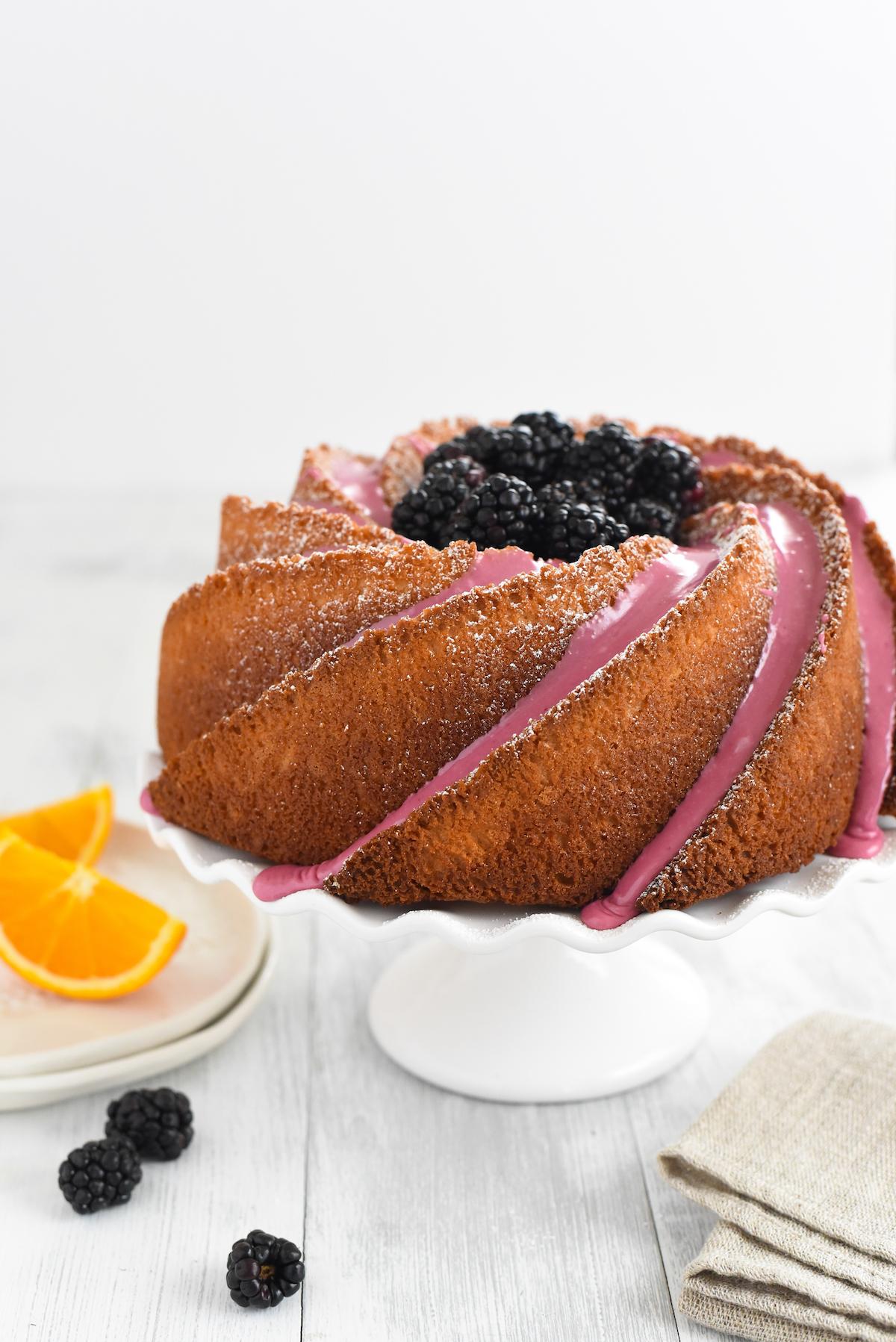 orange-bundt-cake-with-blackberry-icing