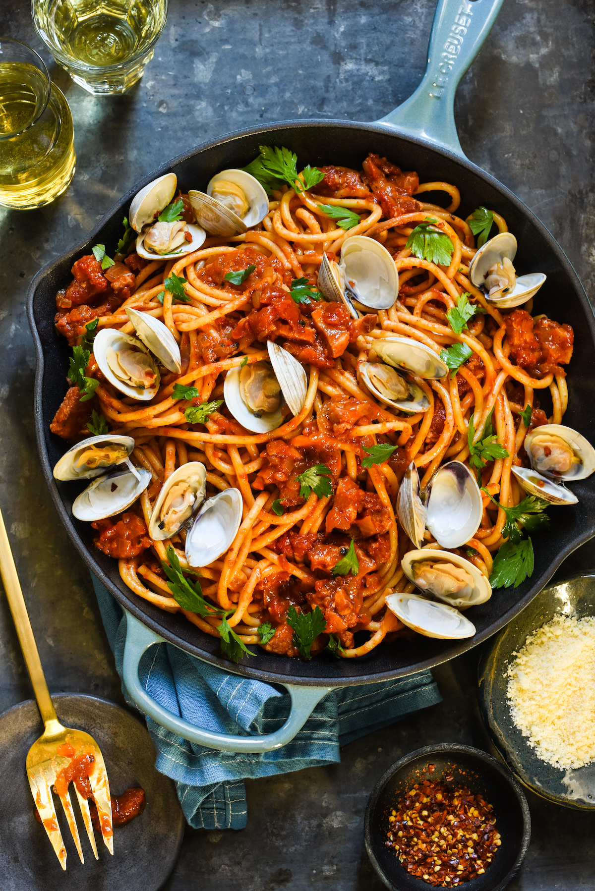 Pasta all'Amatriciana with Clams_-8