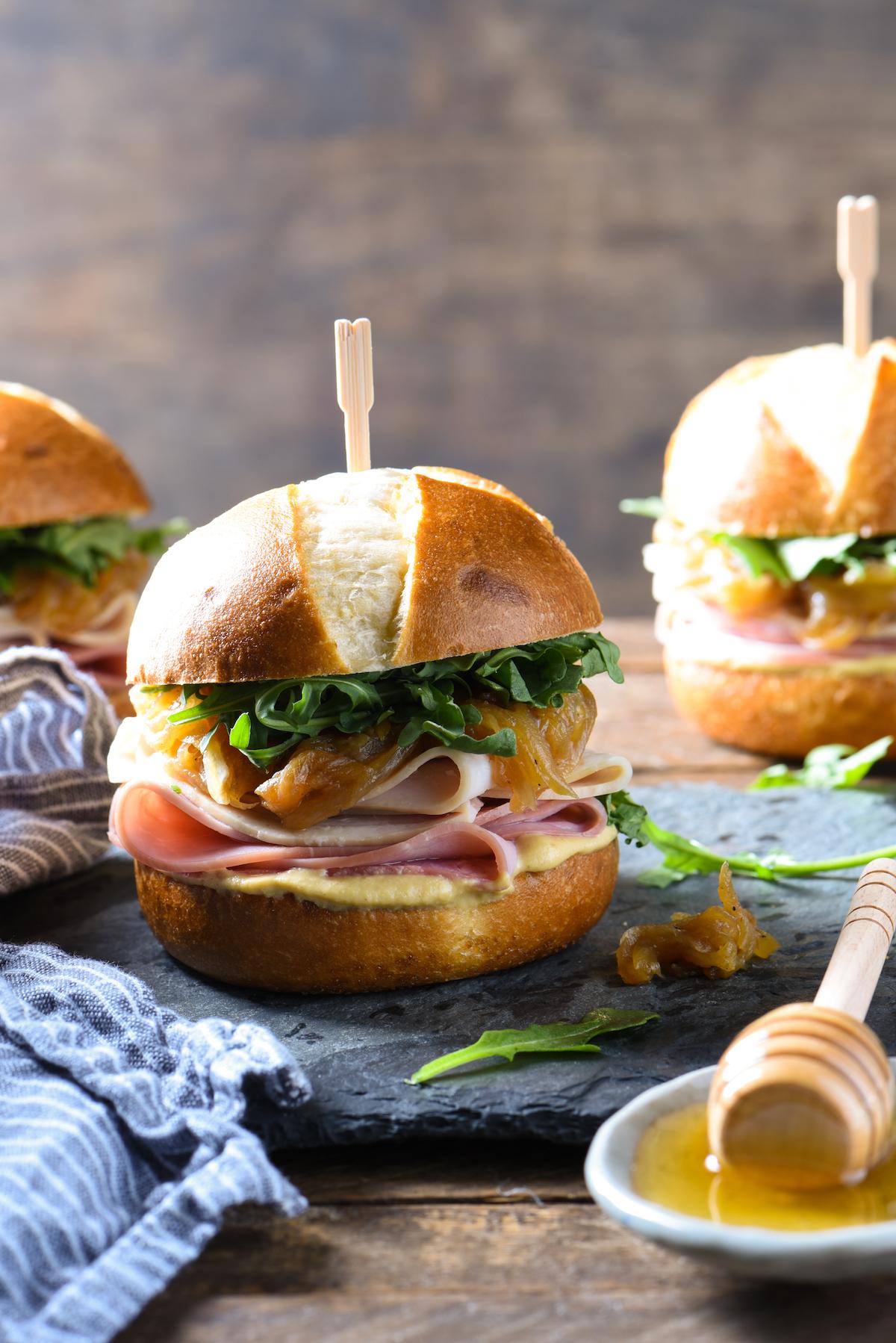 ham-turkey-sliders-with-honey-caramelized-onions