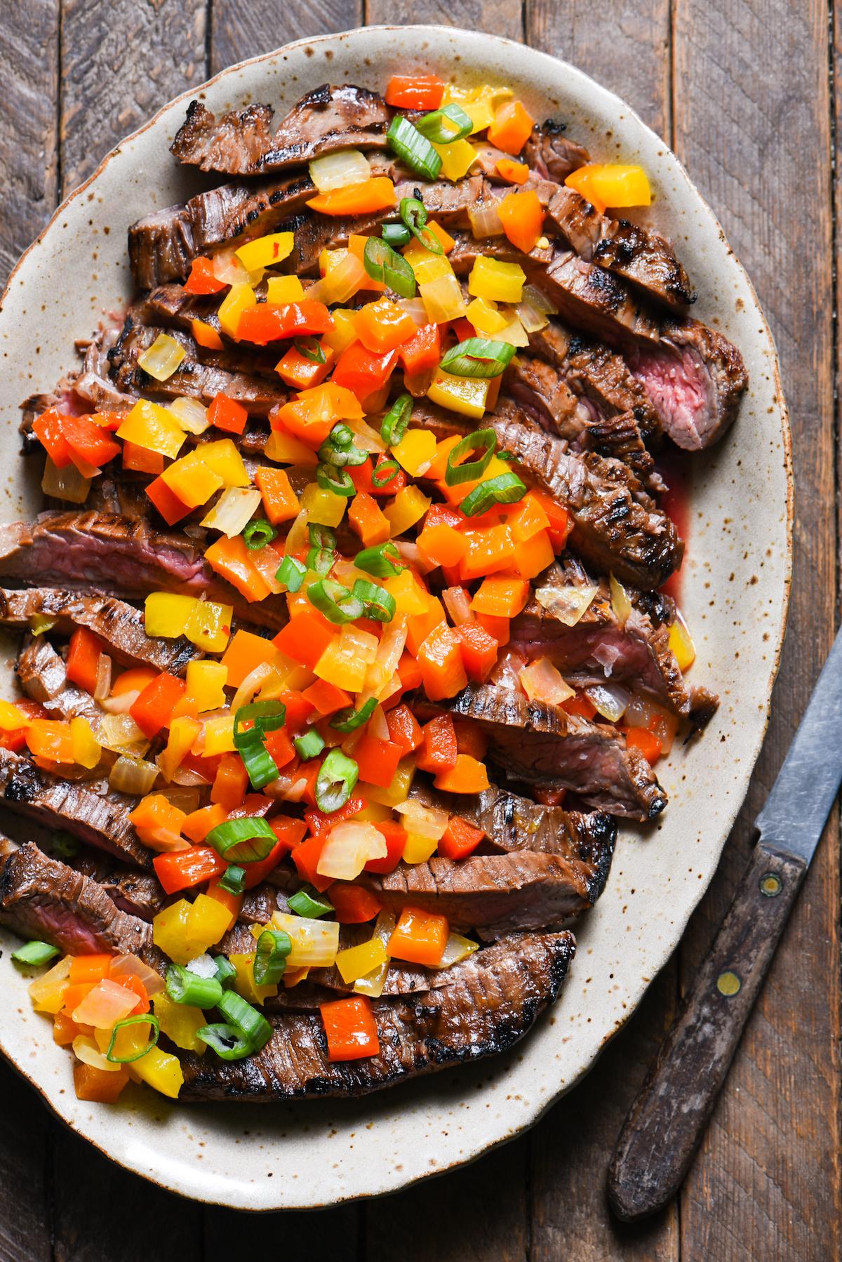 honey-balsamic-flank-steak-with-honey-pepper-chutney