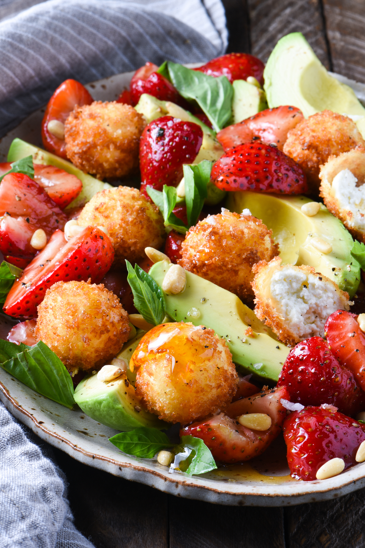 strawberry-avocado-fried-goat-cheese-salad